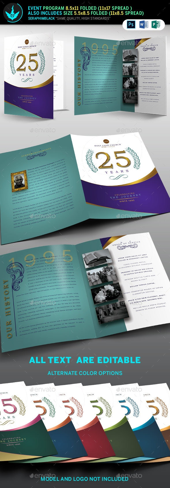 Regal Gold Lavender plus Teal Church Anniversary Program Template - Informational Brochures
