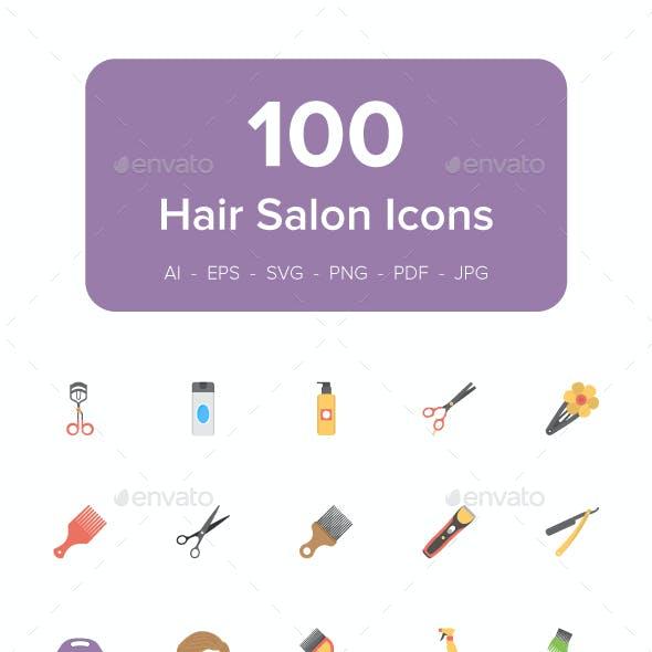 100 Hair Salon Flat Vector Icons