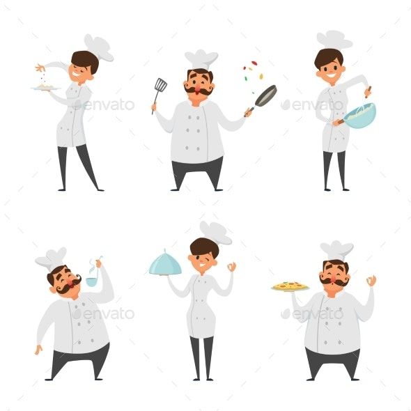 Illustrations of Male and Female Professional Chef