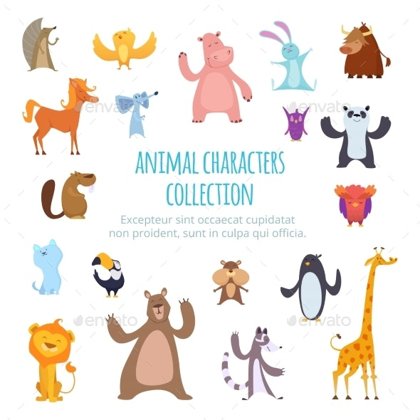Vector Background Pictures with Different Cartoon