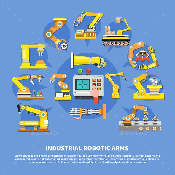 Industrial Robotic Arms Composition