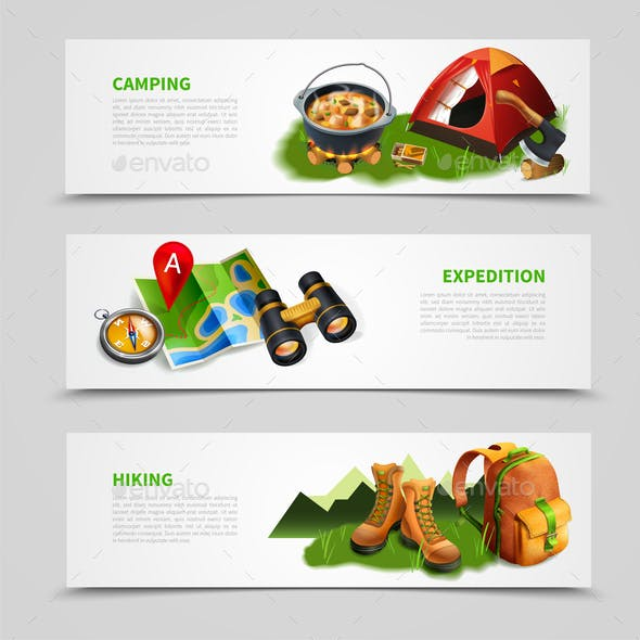 Camping Realistic Banner Set