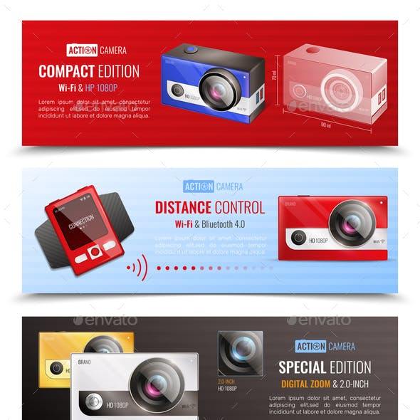 Action Camera Banners Set