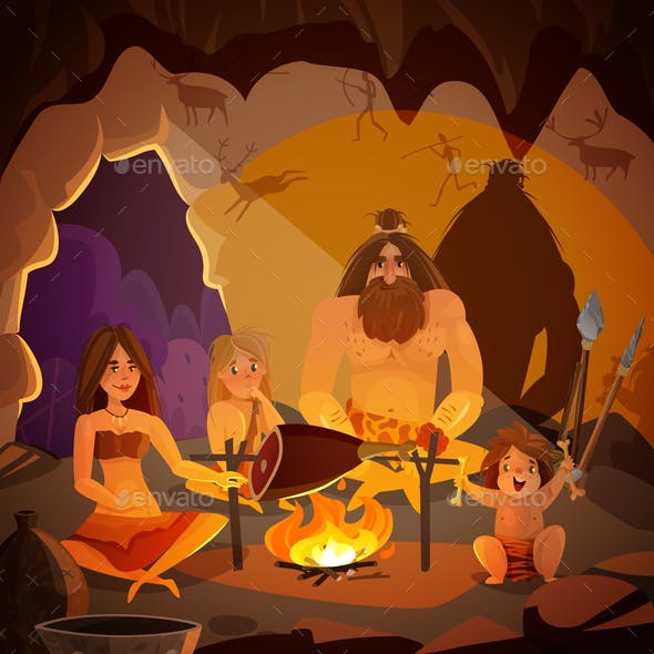 Caveman Family Cartoon Illustration