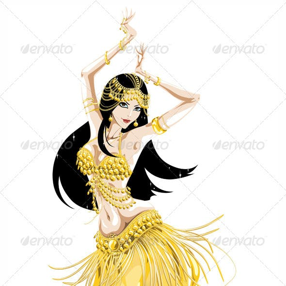 Belly Dancer in a Golden Costume