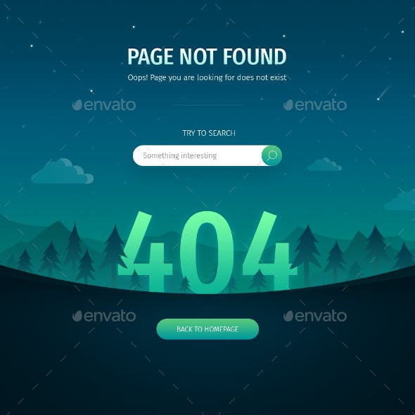 404 Error Page: Night Landscape
