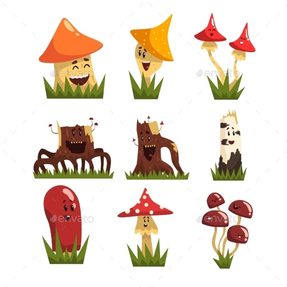 Mushrooms Characters with Colorful Caps Set