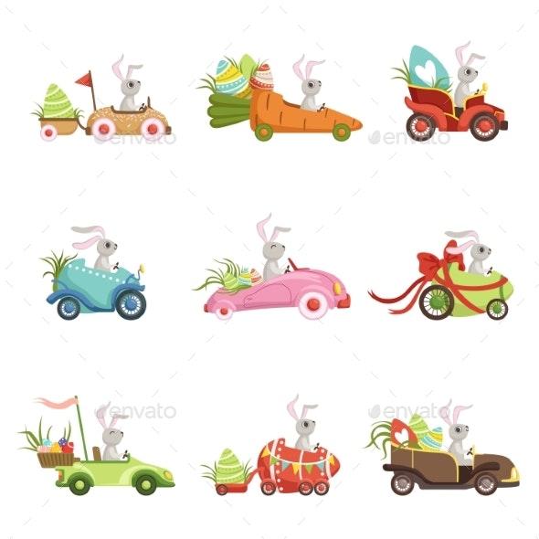 Bunnies Driving Vintage Car