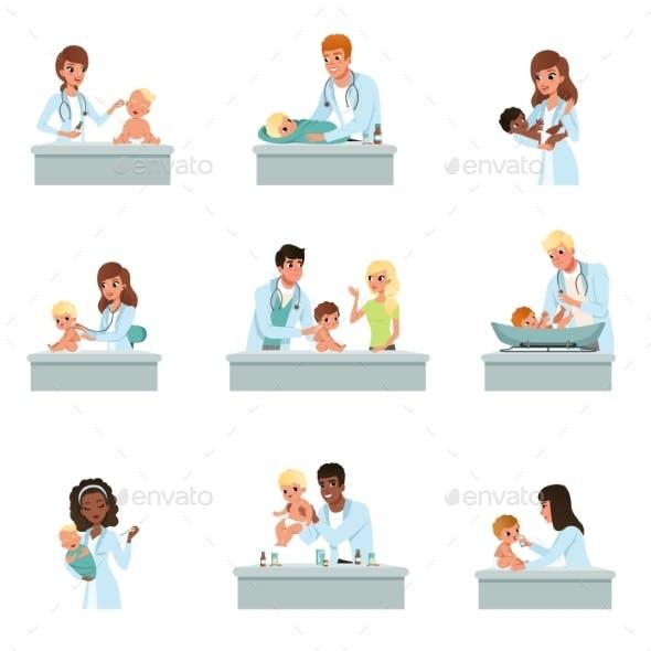 Pediatrician Doctors Doing Medical Examination