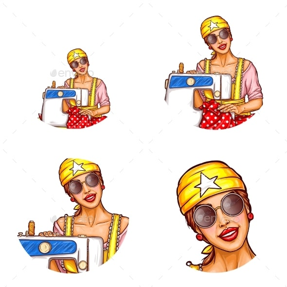 Vector Set of Female Avatars in Pop Art Style - People Characters