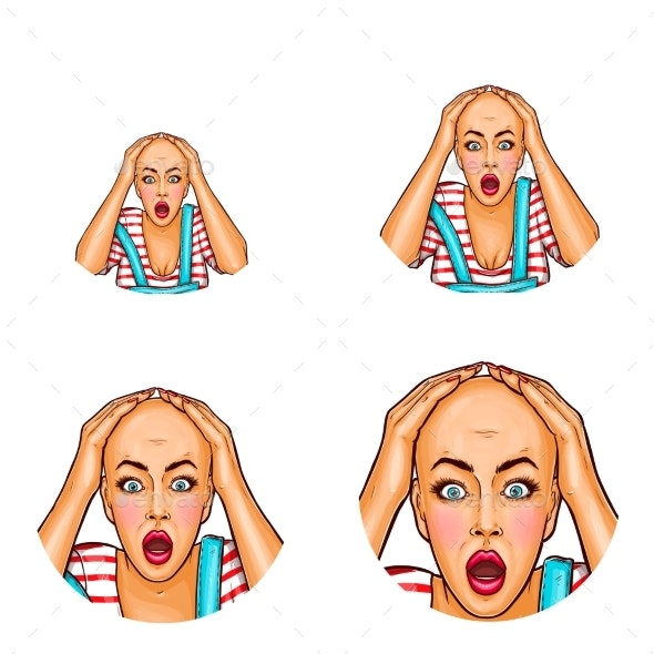 Vector Pop Art Avatar of Shocked Girl - People Characters