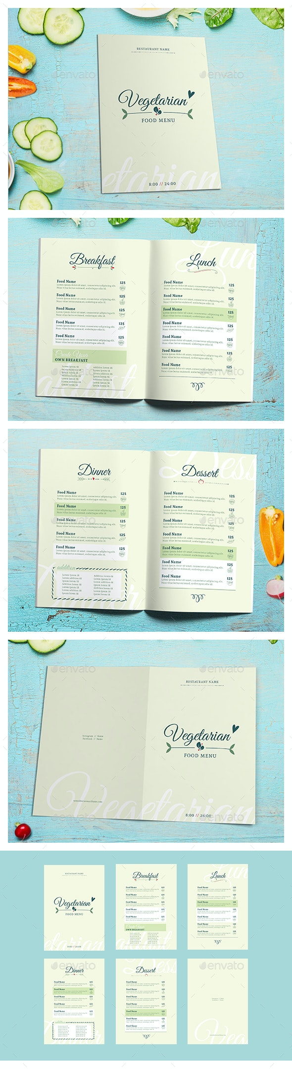 Vegetarian Food menu II - Food Menus Print Templates
