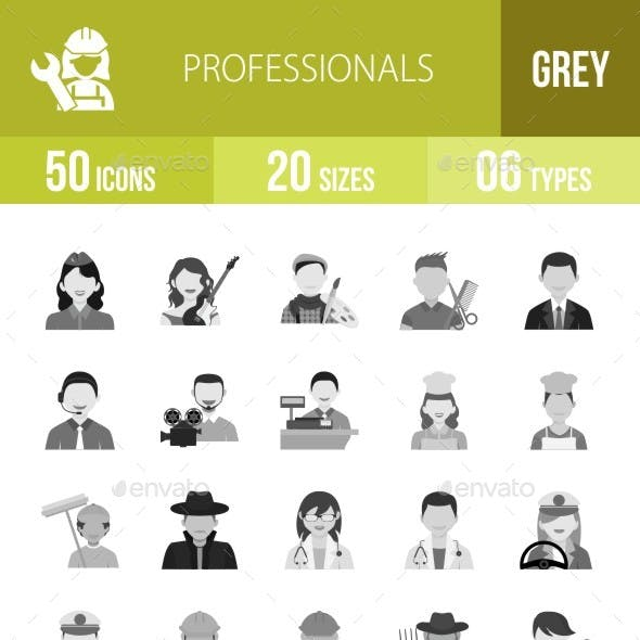 50 Professionals Grey Scale Icons