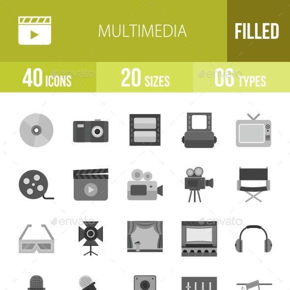 40 Multimedia Grey Scale Icons