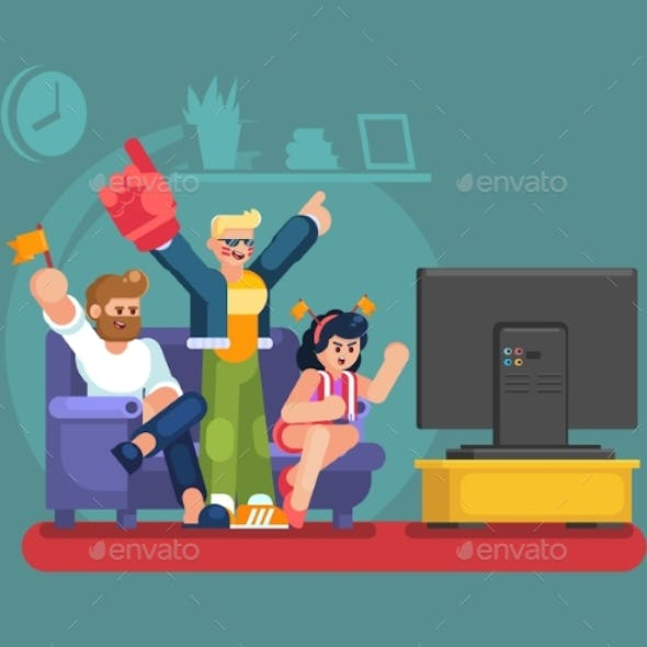 Soccer Fans and Friends Watching Tv on Couch