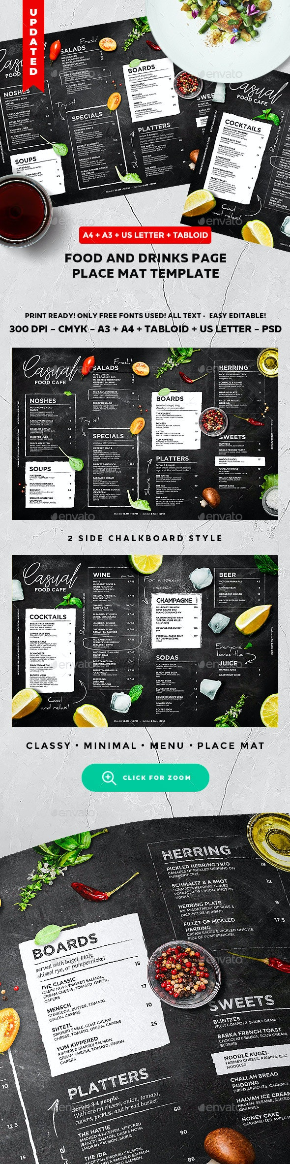 Chalkboard Cafe Menu - Food Menus Print Templates
