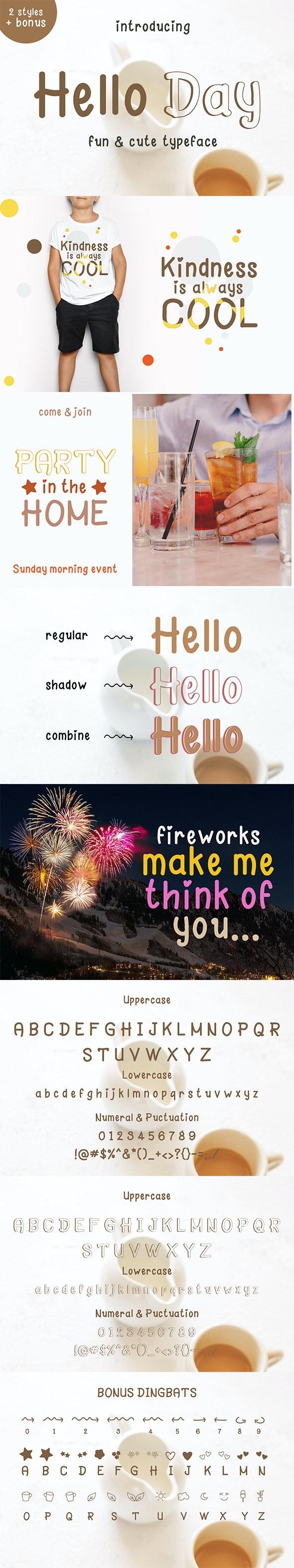Hello Day - Fun and Cute Font by jozgandoz | GraphicRiver