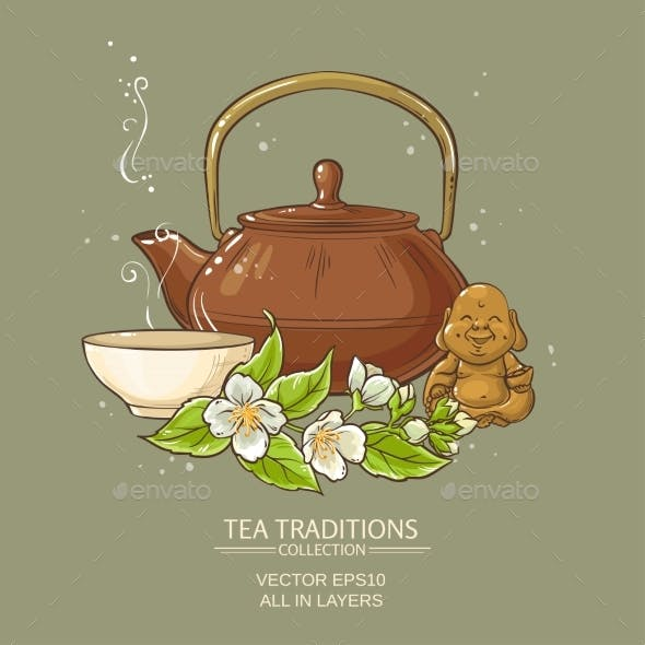 Jasmine Tea Vector Illustration