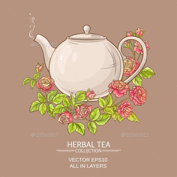 Rose Tea Vector Illustration
