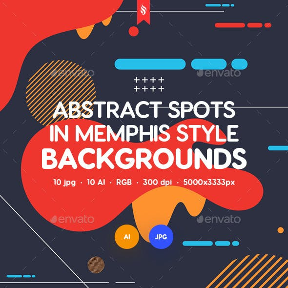 Abstract Spots in Memphis Style Design Backgrounds