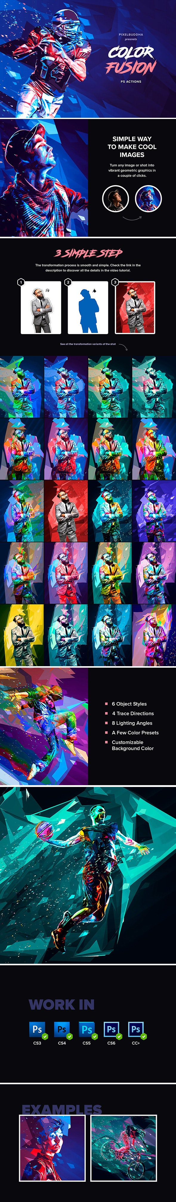 Color Fusion Geometry Photoshop Actions - Photo Effects Actions