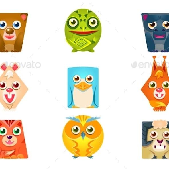 Geometric Shape Flat Cartoon Animals Set