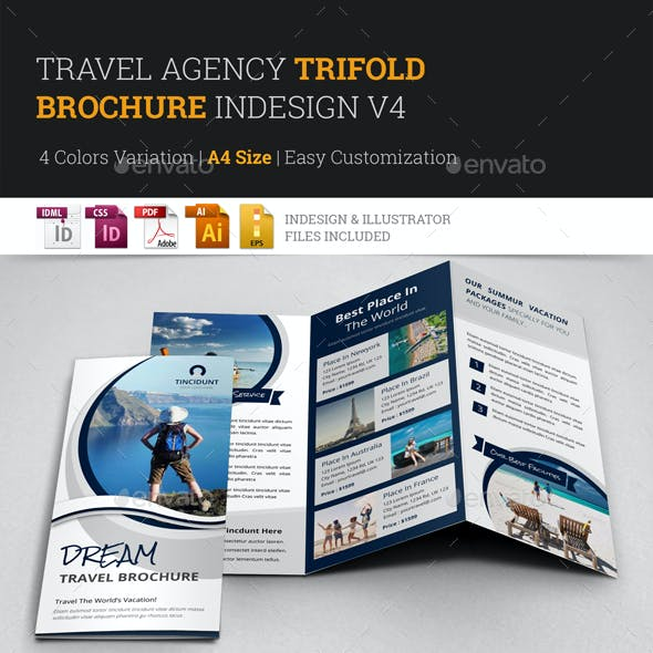 Travel Agency Trifold Brochure Design v4