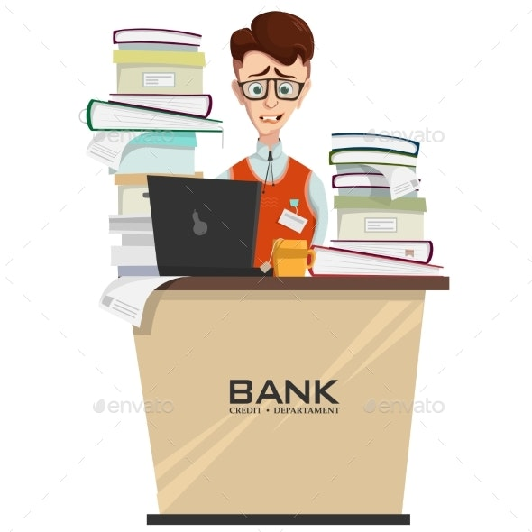 Vector Concept of Bank Employee with Lot of Work - People Characters