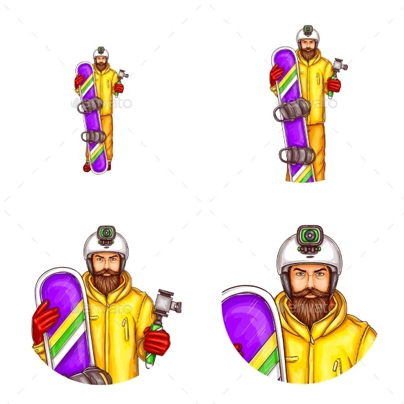 Vector Set of Male Avatars in Pop Art Style - People Characters