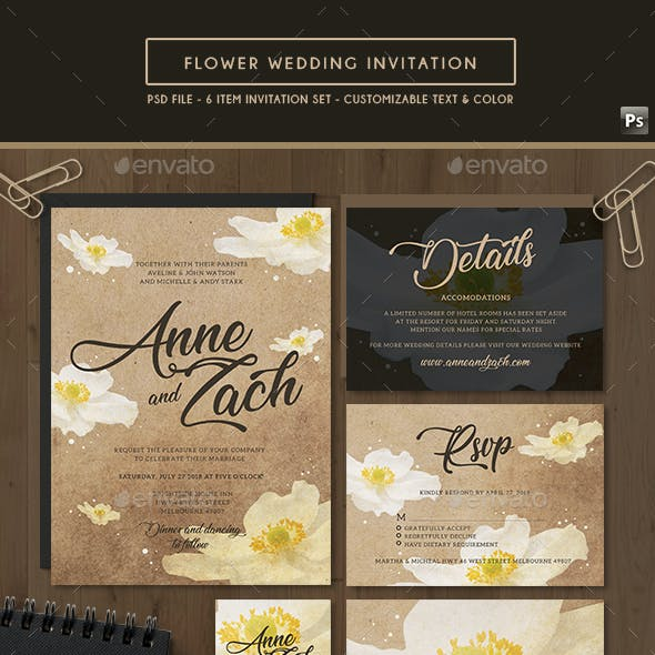 Flower Vintage Wedding Invitation