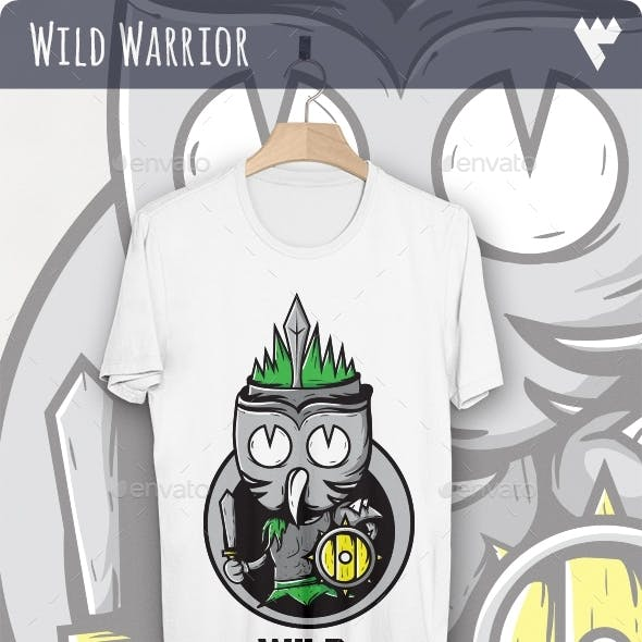 Wild Hunter with Owl Mask - T-Shirt Design