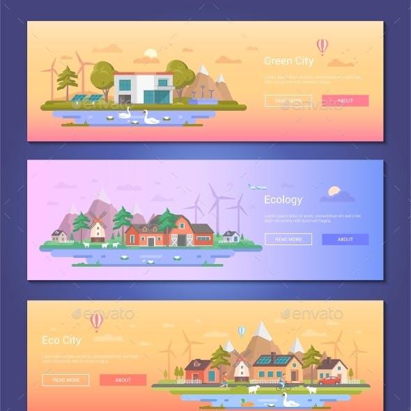 Eco City - Set of Modern Flat Design Style Vector
