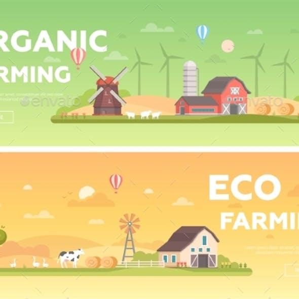 Organic Farming - Set of Modern Flat Design Style