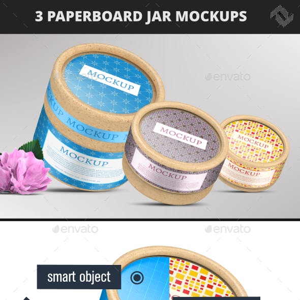 Paperboard Container Jar Flush Fit Cap Mockup by Fusionhorn