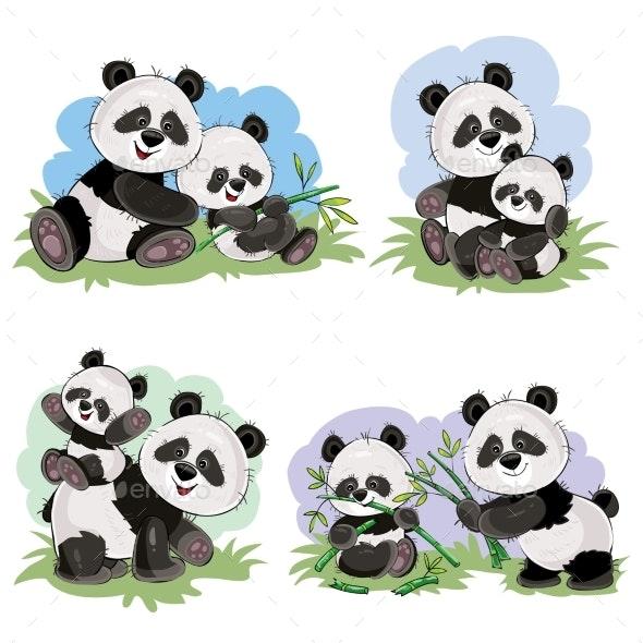 Vector Cartoon Set of Panda Bear Characters - Animals Characters