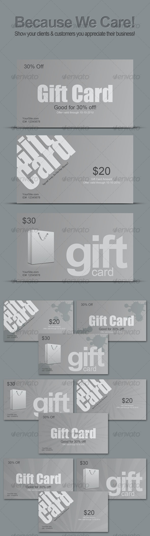 Clean Gift Cards (Print Ready As-well) - Miscellaneous Web Elements