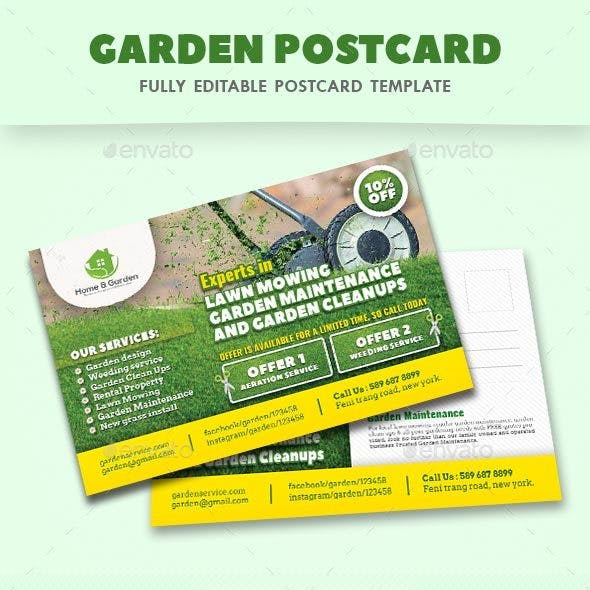 Garden Landscape Postcard Templates