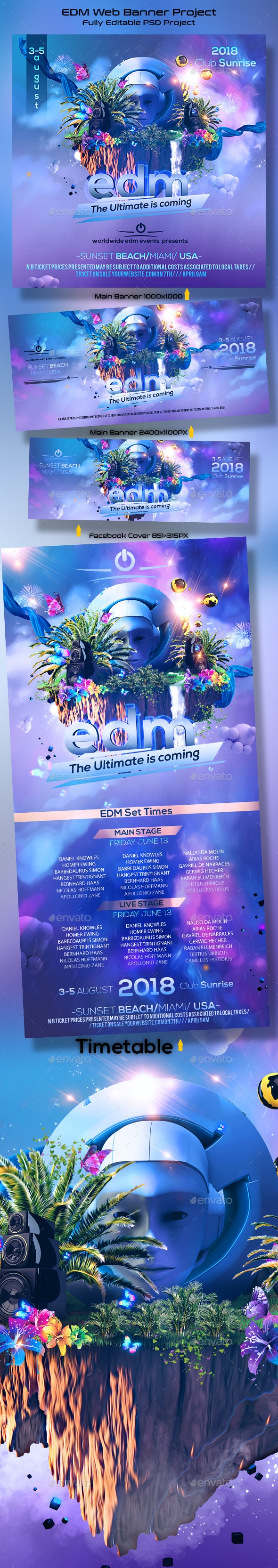 EDM Festival Banner - Banners & Ads Web Elements