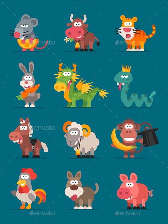 12 Animals Chinese Zodiac - Animals Characters