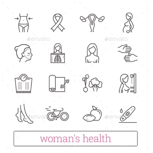 Woman's Health, Beauty & Medicine Thin Line Icons.