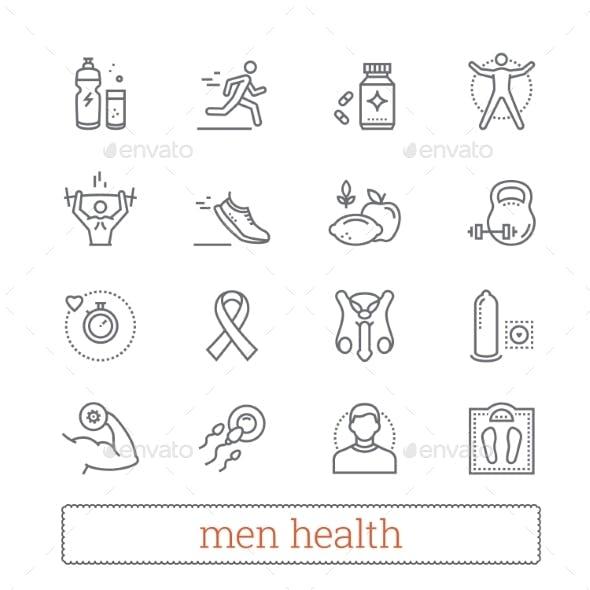 Men Health, Medicine & Lifestyle Thin Line Icons.