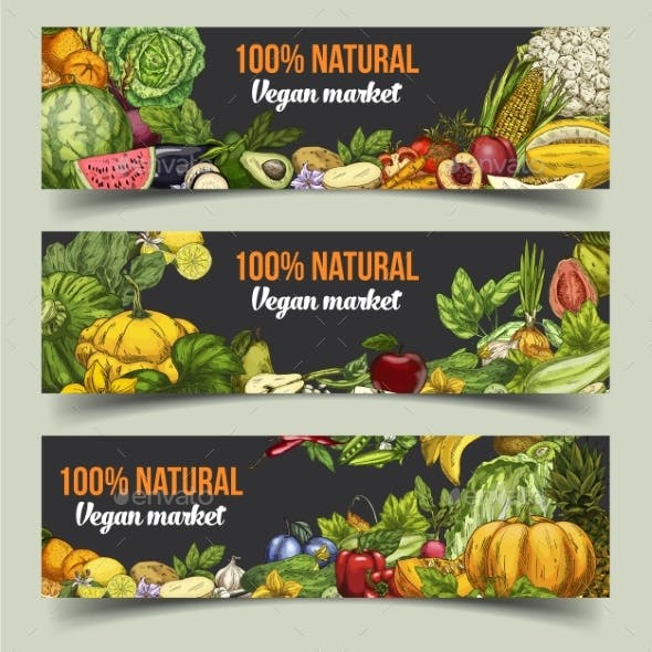 Fruits and Vegetables on Isolated Banners