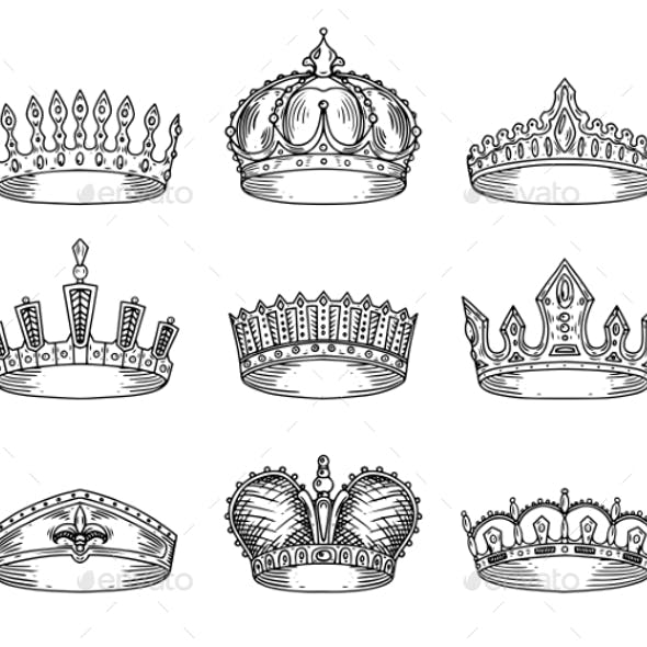 Set of Isolated Sketch for Crown or Tiaras