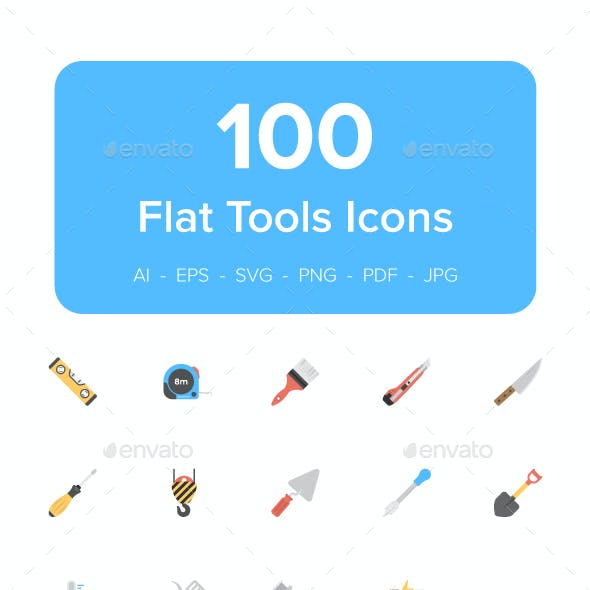 110 Tool Flat Vector Icons