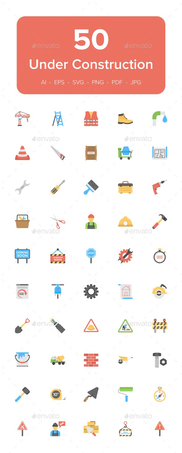 50 Under Construction Flat Icons