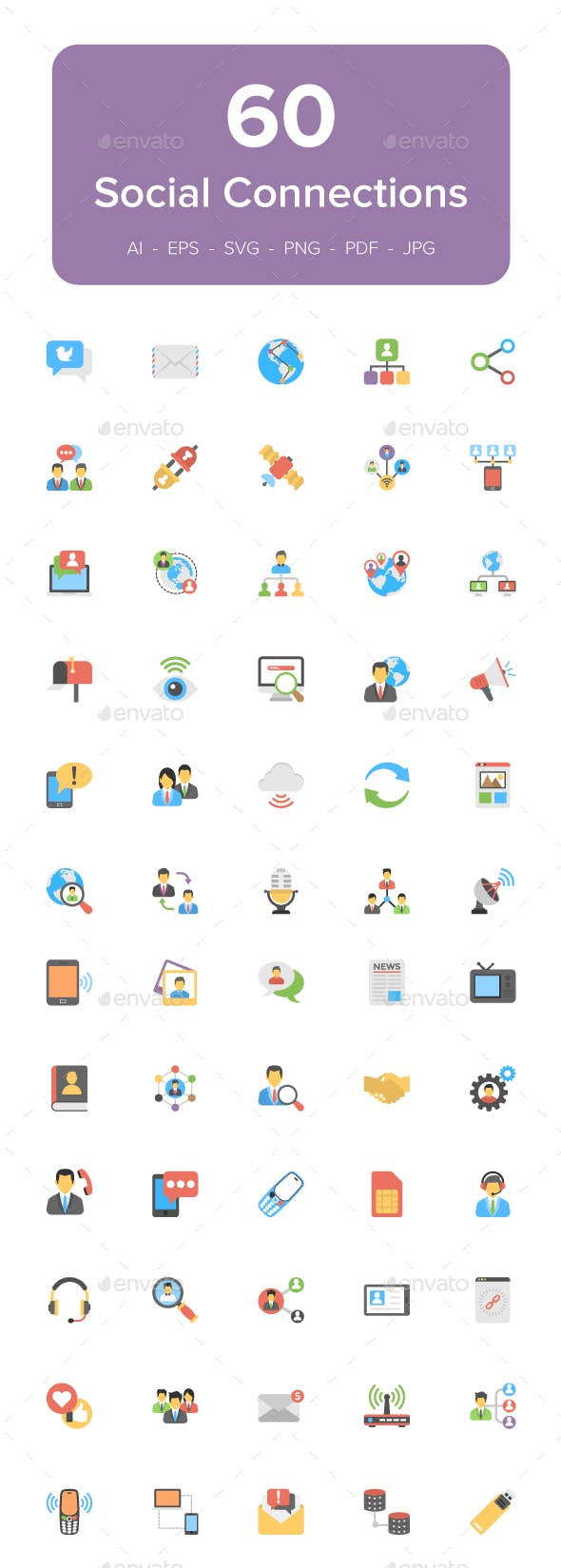 60 Social Connections Flat Icons