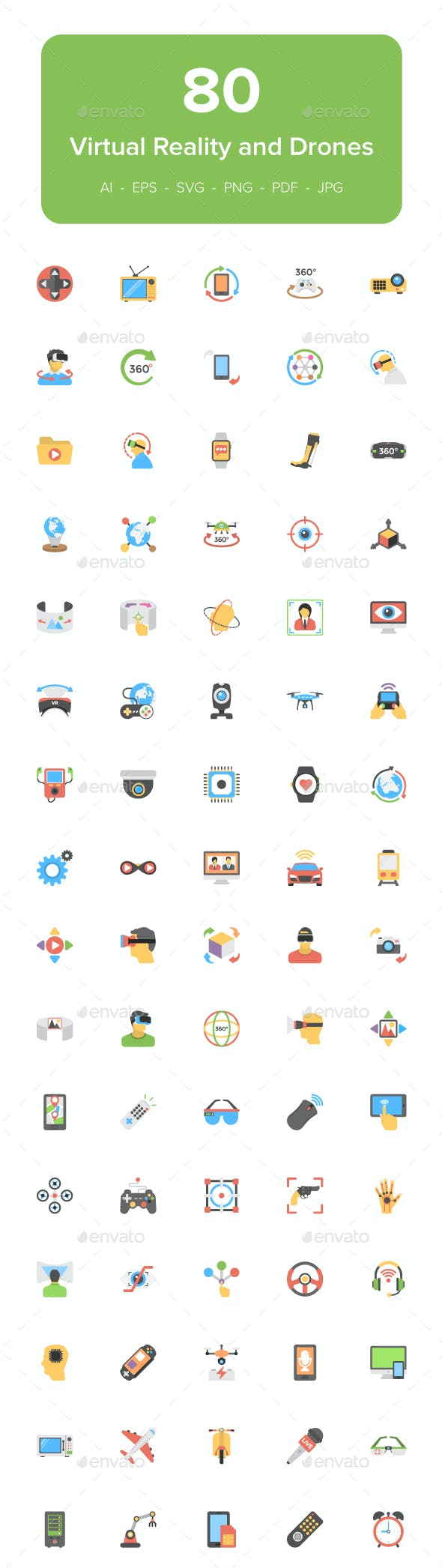 80 Virtual Reality and Drones Icons