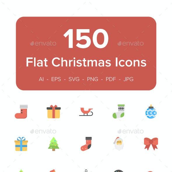 150 Christmas Flat Vector Icons