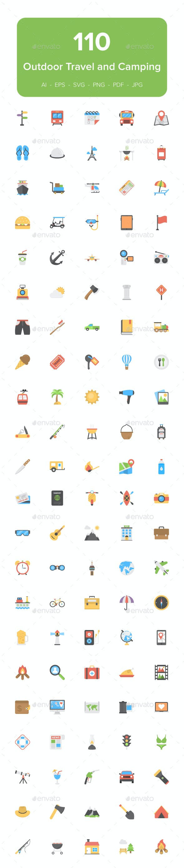 110 Outdoor Travel and Camping Flat Icons