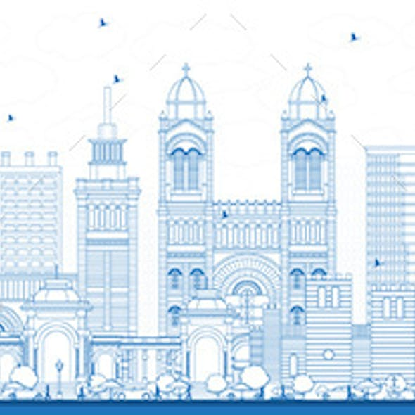 Outline Marseille France City Skyline with Blue Buildings
